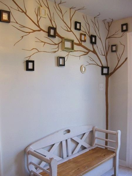 Love to do this in our spare/home office guest room.  I love to do family history: Diy Ideas, Family Trees, Trees Crafts, Families Trees Wall, Cute Ideas, Living Room, Families Photo, Trees Murals, Pictures Frames