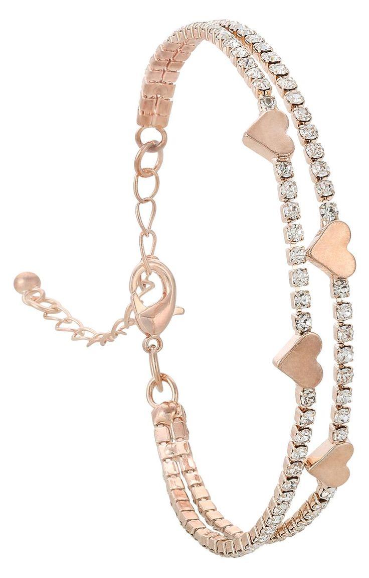 - Pulsera - Color oro rosado - Dos filas - Piedras de cristal resplandecientes - Pequeños corazones - Cadena de extensión Largo 16 - 22 cm Ancho: 0,8 cm