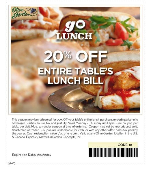 Olive Garden Italian Restaurant 20 Off Lunch Bill Lunch