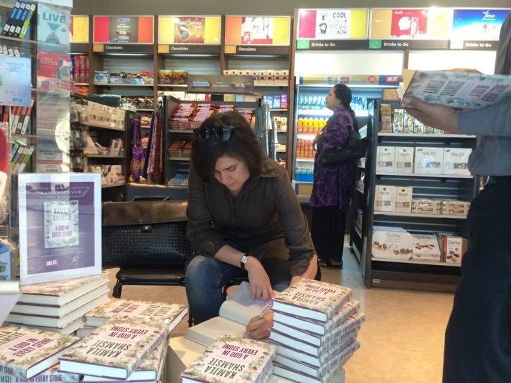 Kamila Shamsie signing personal copies at Relay Stores