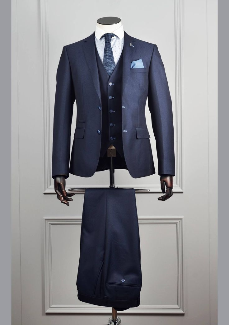 Mens Navy Pattern Suit by 6th Sense