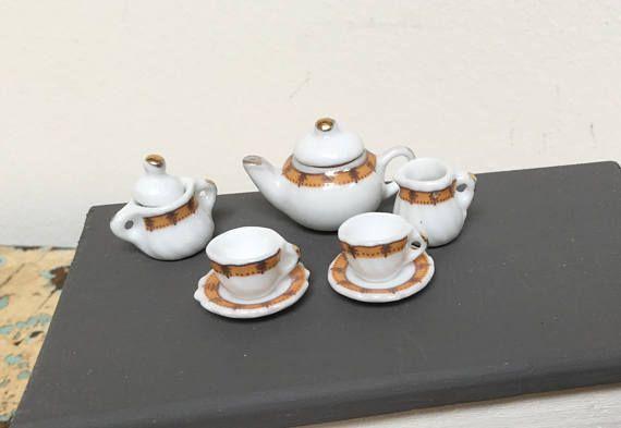 Vintage dollhouse miniature tea set
