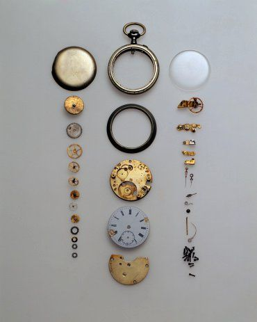 from things organized neatly, deconstructed pocket watch