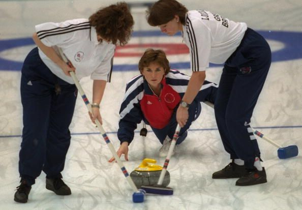 Team GB's Edith Loudon releases the stone at Kazakosohi Park during the womens curling during the 1998 Winter Olympic Games in Nagano.