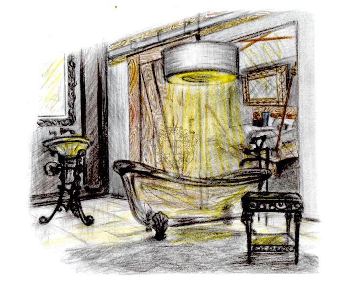 Эскиз. Ванная комната с выходом в спальню. Общая площадь 12м2