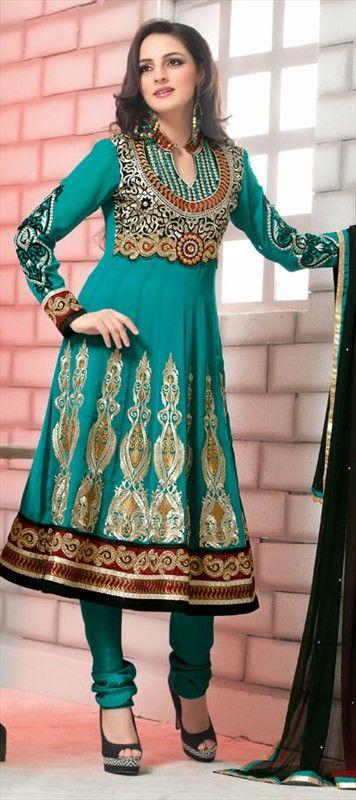 401973, Bollywood Salwar Kameez, Faux Georgette, Stone, Zari, Border, Thread, Machine Embroidery, Resham, Green Color Family