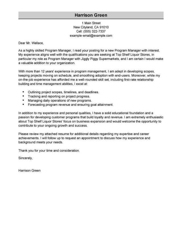 25 Project Manager Cover Letter Cv Best Management Examples