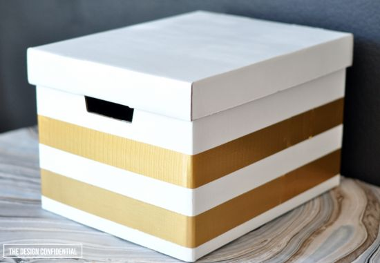 Easy DIY Faux Lacquer and Glam Striped Storage Boxes for Under $5 | The Design Confidential