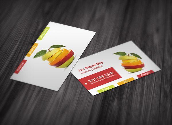Cartão de visita nutricionista criativo