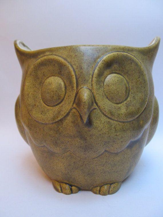 Mediterranean Olive Owl planter on Etsy, $25.00