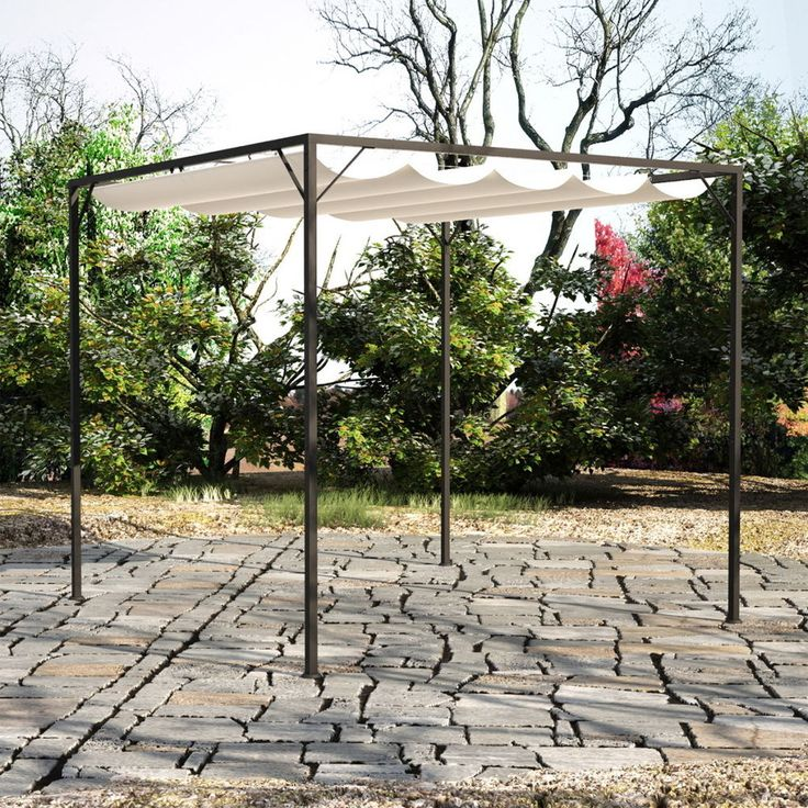 New 3 x 3m Waterproof Garden Gazebo with Retractable Roof Canopy Marquee Outdoor