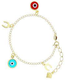 Pulseira da sorte folheada a ouro c/ pingentes de olho grego e ferradura-Clique para maiores detalhes