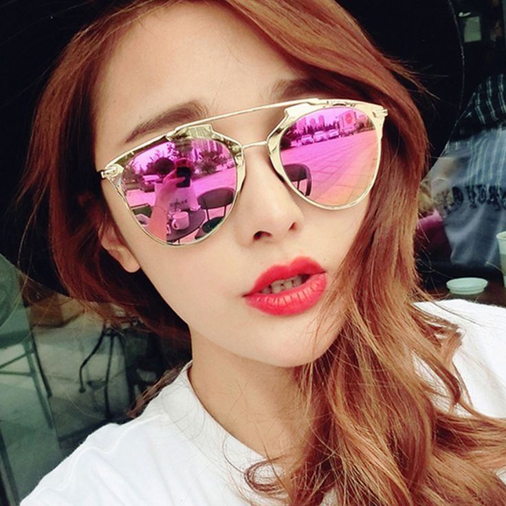 Classic Pink Mirror Sunglasses Women Fashion Reflective Brand Designer Women Or Men So Cat Eye Sun Glasses Gafas De Sol D