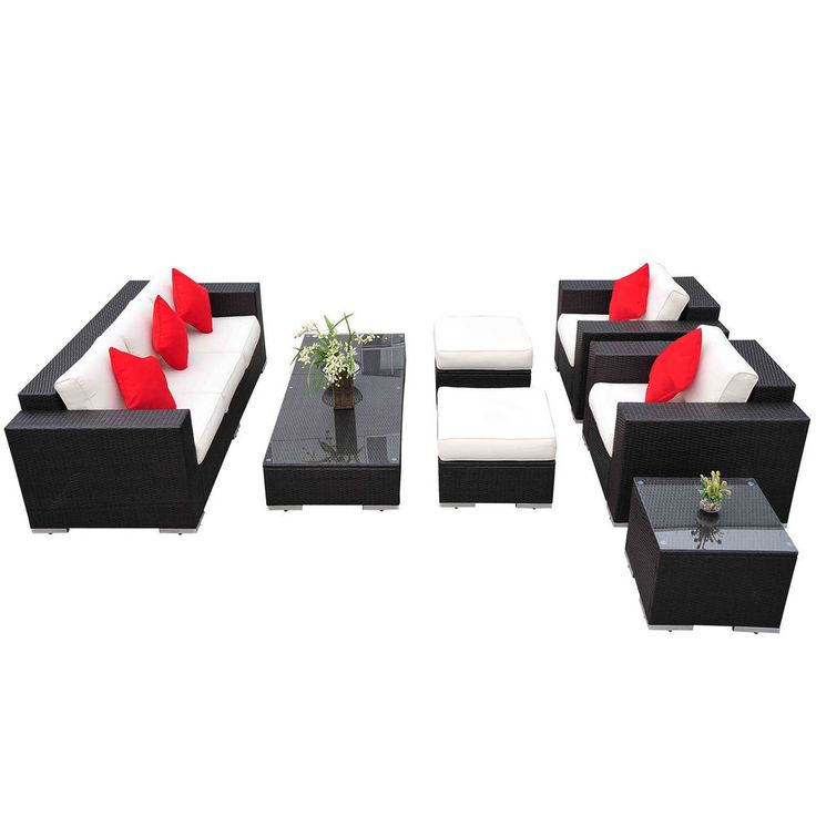 7pc rattan wicker sofa patio furniture set outdoor sectional couch deck chair