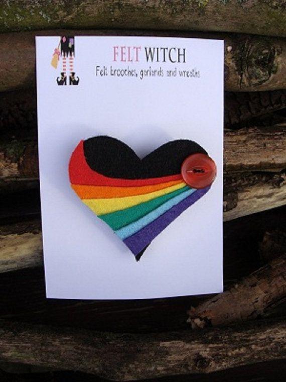 Heart Brooch Rainbow Swoosh by FeltWitch on Etsy, £6.00