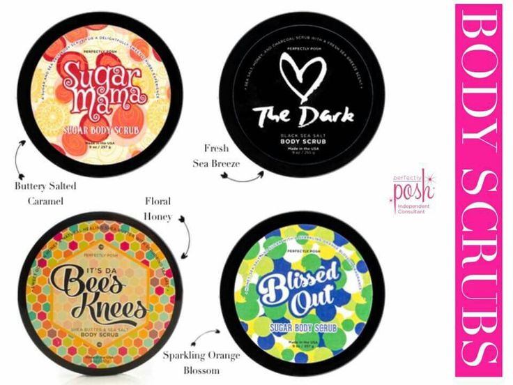Perfectly Posh body scrubs are like no other. I'm a huge body scrub fan, switching to Posh naturally based body scrub my body is in love. Check them out! Katherine.po.sh/