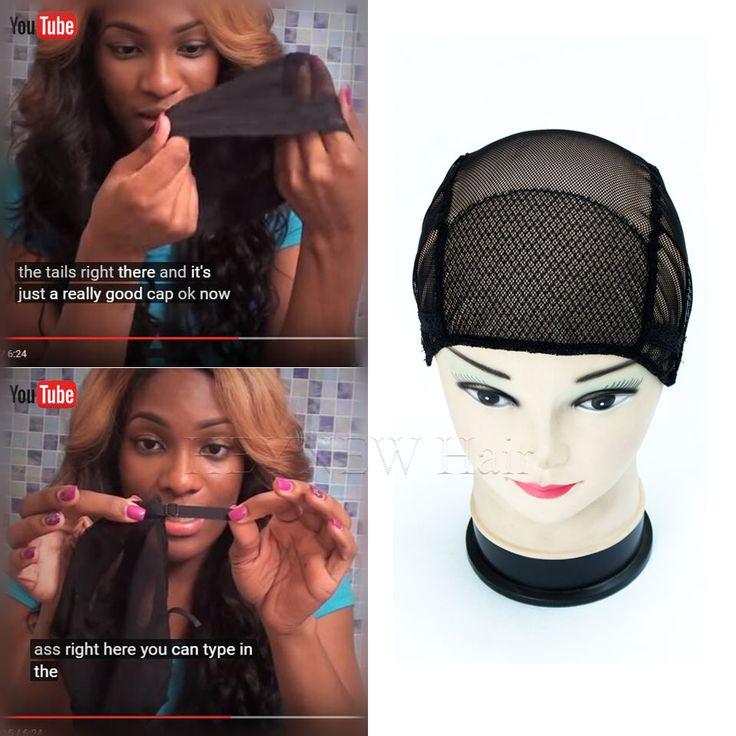 3 pcs Gratis Pengiriman hitam/coklat penuh renda wig caps untuk membuat wig gratis Ukuran wig net cap tenun topi dengan tali disesuaikan kembali