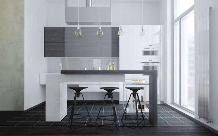 Grey White Kitchen Island Ideas Grey Cupboards Hanging Lights Black Tiled Floor Modern Kitchen Curved Kitchen White Kitchen Island