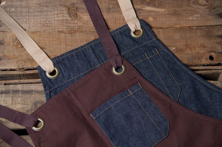Aprons with denim features