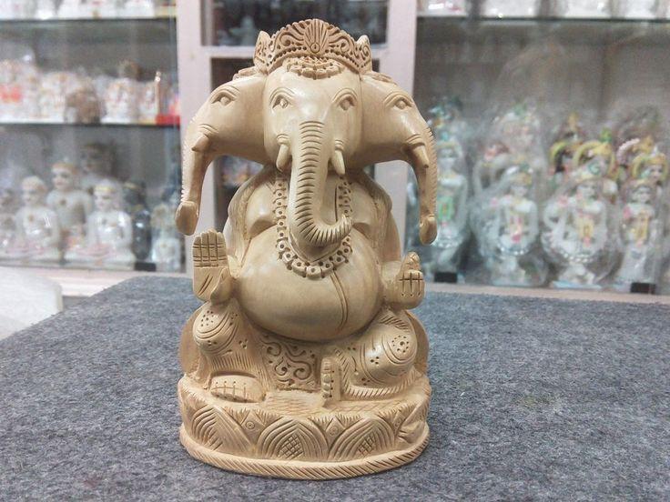 "6""Three mukhi Wooden GANESH Statue Hand Carved Hindu Elephant God +Free Shipping"