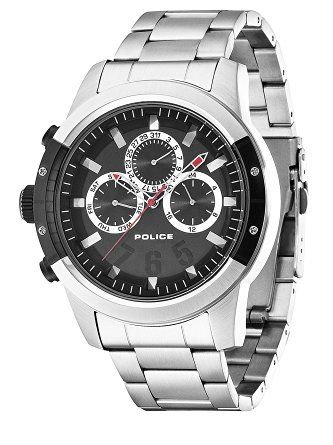 Police Kicker Men's Wrist Watches, Stainless Steel Band with Black Dial