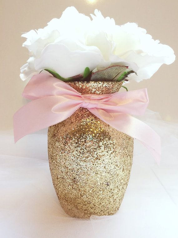 1 Beautiful Gold Glittering Glass 7 Jardin Vases with a Light Pink Ribbon Around it. The vases in this particular listing are decorated in