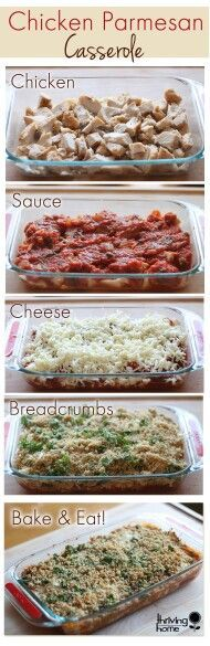 ~Chicken Parmesan Casserole~ Yields: Makes: one 8x8 casserole dish. **Ingredients** about 4 cups of shredded, cooked chicken●about 1 jar of marinara sauce●1/2 cup Parmesan cheese●1-2 cups shredded mozzarella cheese●about 1 cup panko or whole wheat bread crumbs●1-2 tablespoons olive oil●fresh, chopped herbs (parsley, basil, oregano, etc)●salt and pepper. **Instructions** 1) Preheat oven to 350 degrees. 2) Grease an 8x8 casserole dish with cooking spray. 3) Layer the chicken in the bottom…