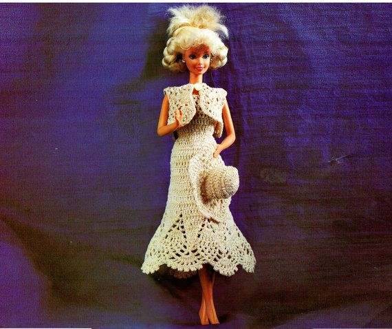 PDF Barbie Dolls 'Party' Dress & Hat Crochet by TheAtticofKitsch