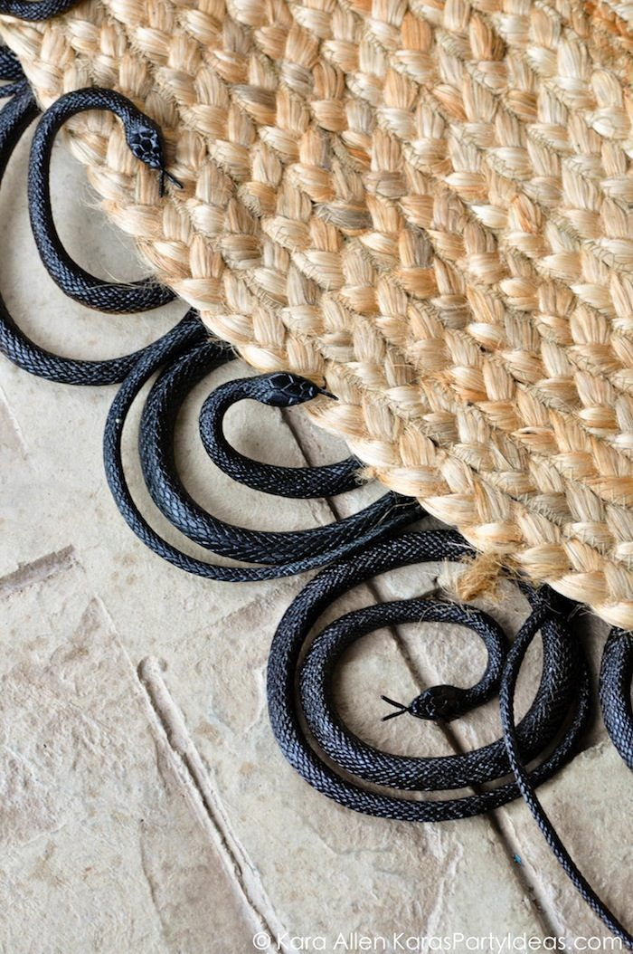 DIY painted rubber snake rug! Creepy for Halloween! Charger, table runner and other halloween decor, too if you click on the image! Via Kara Allen | KarasPartyIdeas.com #halloweenpartyideas #halloweendecorating: Diy Halloween, Halloween Decor, Awesome Snakes, Fall Halloween, Halloween Décor, Halloween Fal, Halloween Paintings, Halloween Ideas, Snakes Rugs