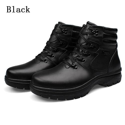 FORLYX Big Size 54 Men Snow Boots Genuine Leather Mens Winter Boots Ankle Lace up Natural Fur Warm mens Shoes Waterproof Botas