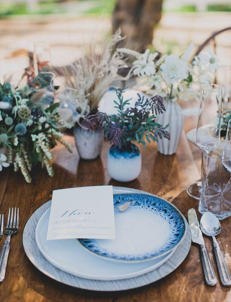 earthy boho blue indigo plates tablescape