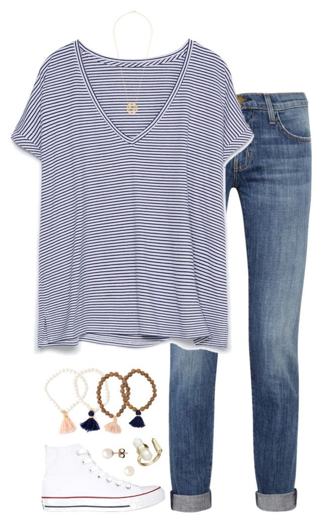"""everyday"" by tessorastefan ❤ liked on Polyvore featuring mode, Current/Elliott, Zara, Converse, J.Crew, Kendra Scott, women's clothing, women, female en woman"