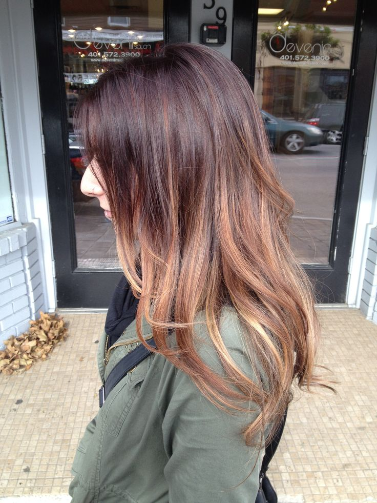 She was looking for a red base color with a coppery undertone to her light pieces, that wouldn't turn pink or fade to a weird brassy color. We lightened her ends a bit more so they could be an even lighter and brighter blonde, with the pretty copper color on her mids.