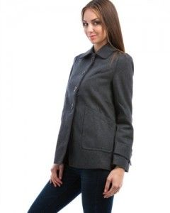 Coats  MOD Luv Women's Classic Wool Button Up Coat Grey S(65251) Big SALE