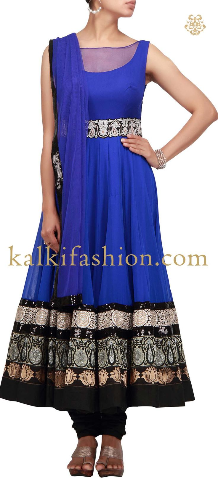 Buy it now http://www.kalkifashion.com/blue-anarkali-suit-with-multiple-brocade-lace.html Blue anarkali suit with multiple brocade lace