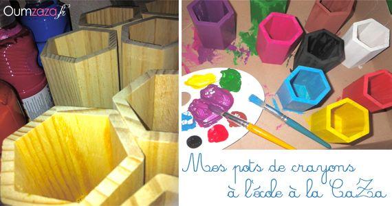 Pots de crayons de couleur en bois #Montessori