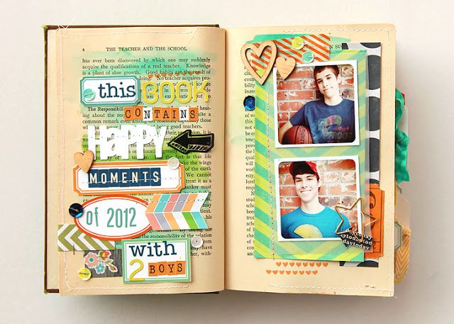 altered book as mini scrapbook. adorable. What an awesome idea!!!! I could try this with a few of my grandmas old books :)