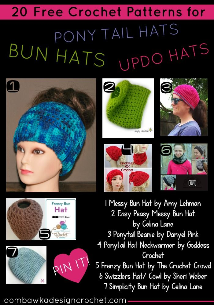 Perfect for when we pull our hair up when we are in a rush! 20 Free Crochet Patterns for for Ponytail Hats, Bun Hats and Updo Hats via @OombawkaDesign