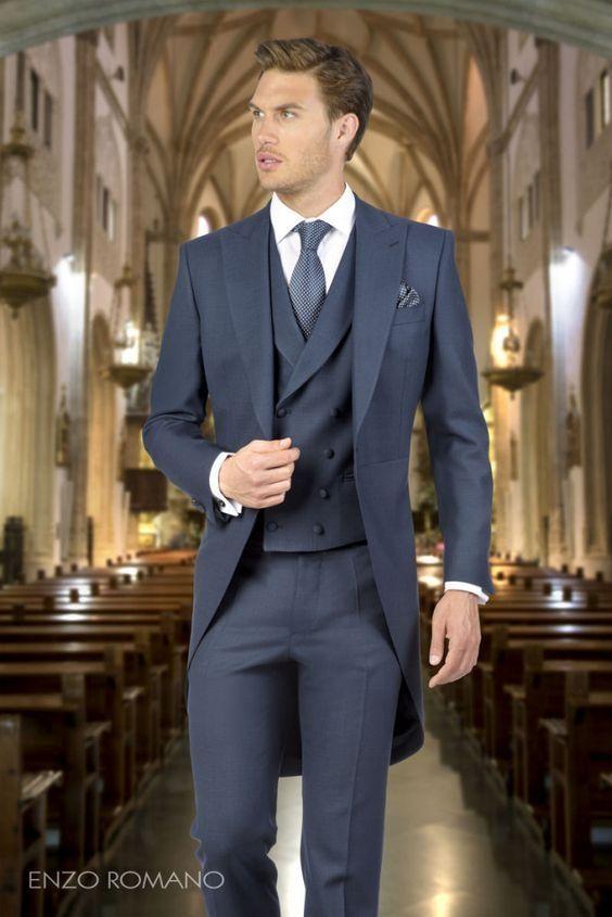 2017 Latest Coat Pant Design Navy Blue Wedding Suits for Men Tailcoat Groom Tuxedo Slim Fit Custom Suit 3 Piece Blazer Masculino