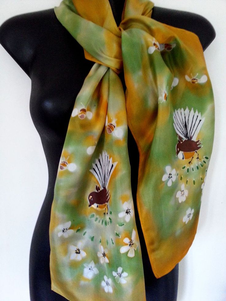FANTAIL Birds, Honey Gold, Manuka Honey, Bees, New Zealand, Hand painted SILK Scarf, Handmade, Gold, green, Habotai Silk, 28 x 150cm Gift by KiwiSilks on Etsy
