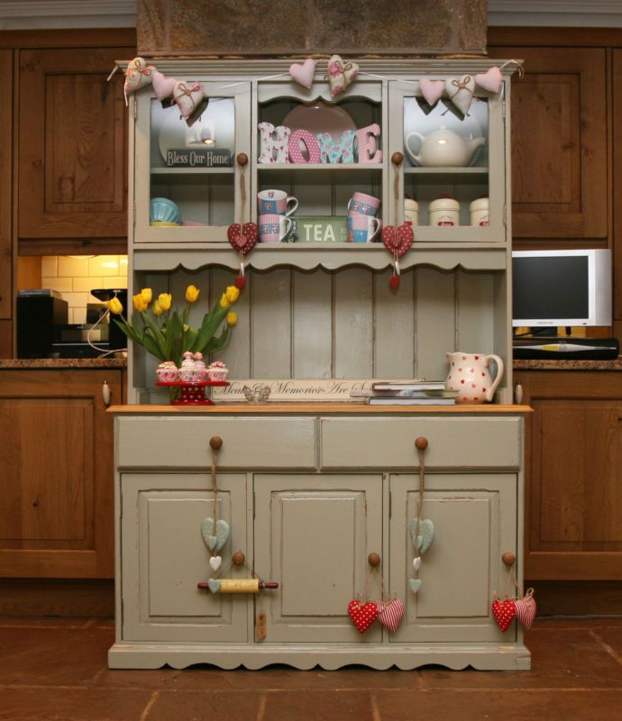 Pine Welsh Dresser Shabby Chic Farrow & Ball French Gre...