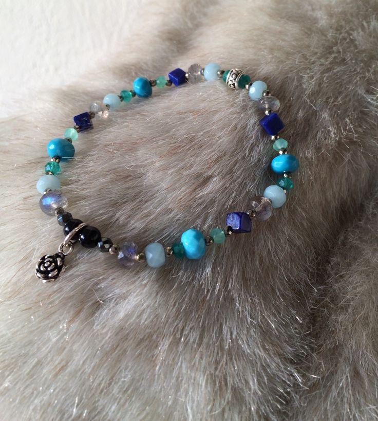 Turquoise * Amazonite * Green onix * Black onix * Labradorite * Chrysoprase * Lapis lazuli * Hematite _ by So.