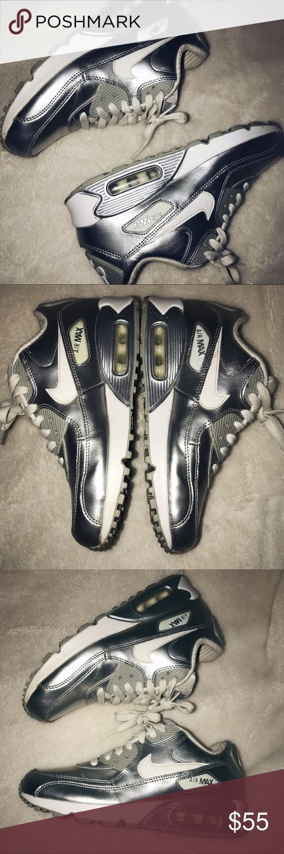Nike air max 90 Premium leather / GS / metallic silver/ lightly worn / make me an offer Nike Shoes Sneakers