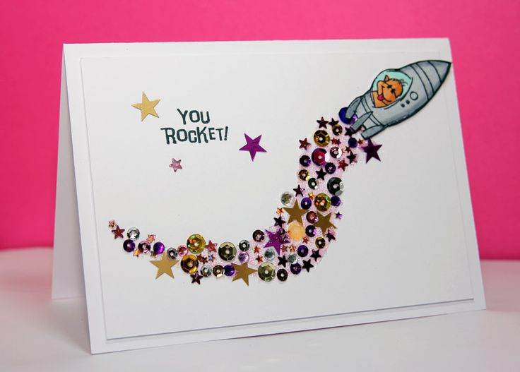 Stampendous stampset Changito in space with a trail of sequins and rhinestones
