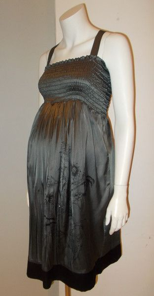 Gently Used Maternity and Nursing Clothing Thyme Maternity silver fit and flare dress with elastic bust and detachable straps medium