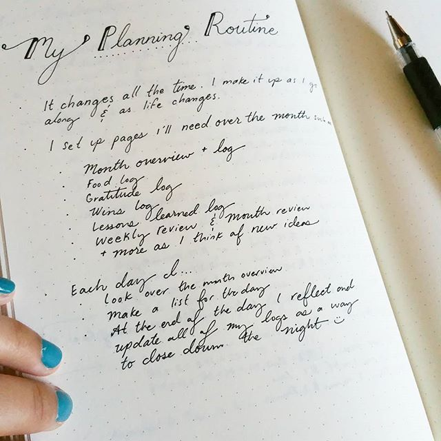05. My planning routine. My #bulletjournal is part planning, part reflecting 😊🍃 #planwithmechallenge