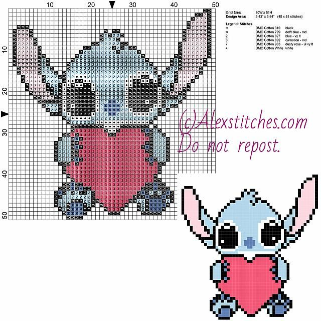 Little Stitch with heart free Disney cross stitch pattern 50x51 6 colors