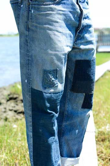 He hand-patched his RRL jeans with vintage Japanese indigo-dyed textiles.