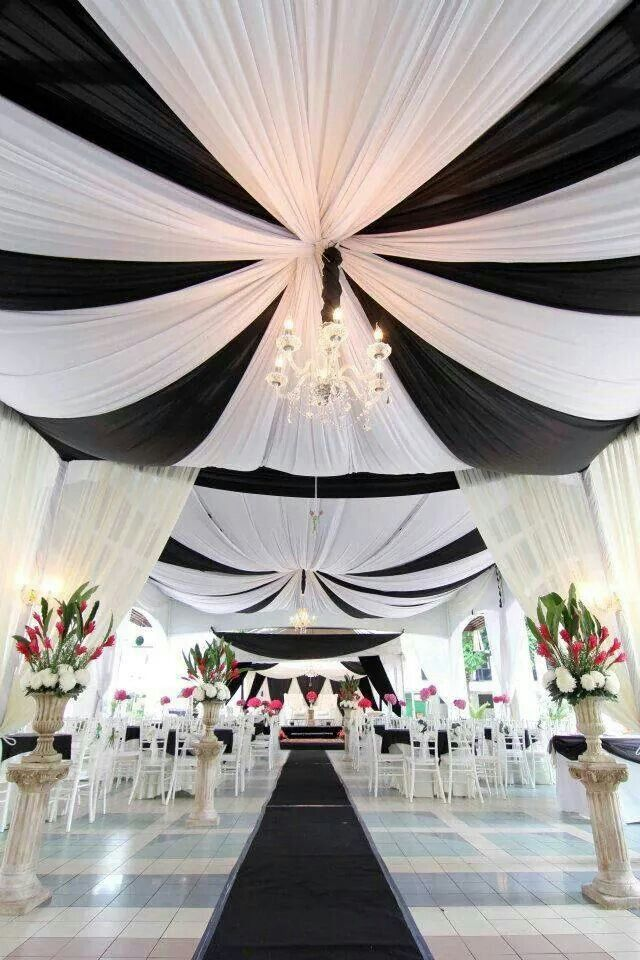 Elegant black and white wedding decor