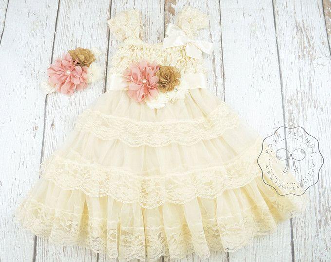 bloemenmeisje jurken, lace meisjes jurk, stoffige rose bloemenmeisje jurk, jute bloemenmeisje jurk, ivoor bloemenmeisje jurk, rustieke bloemenmeisje